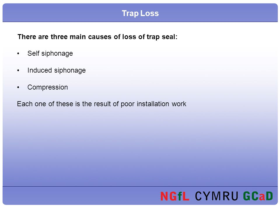 There are three main causes of loss of trap seal: