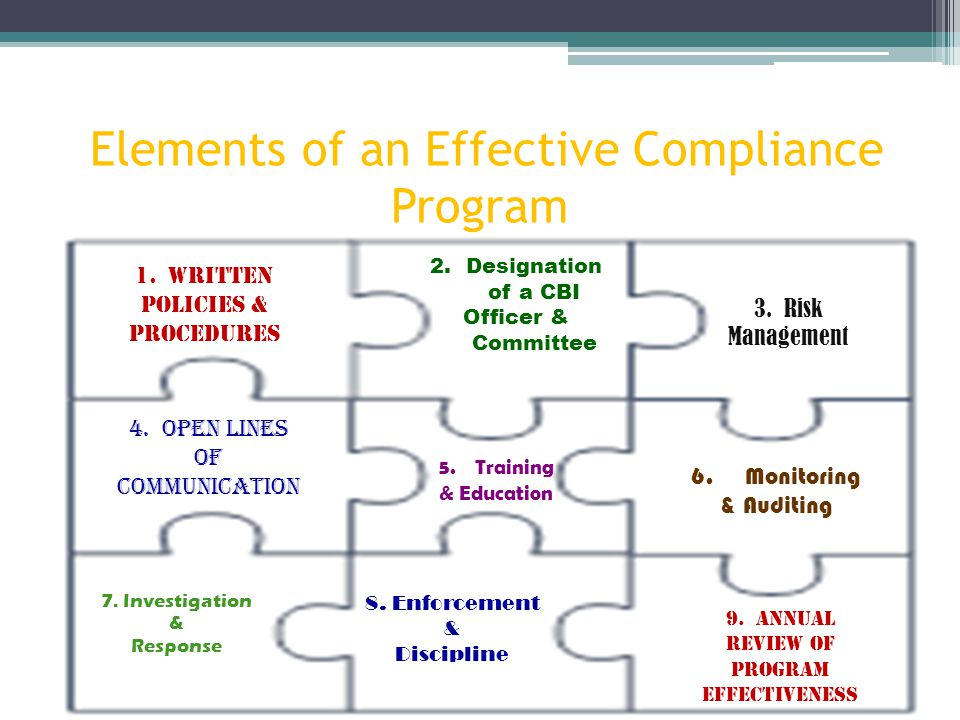 Vha and visn 21 compliance business integrity cbi program ppt video online download - Compliance officer certification programs ...