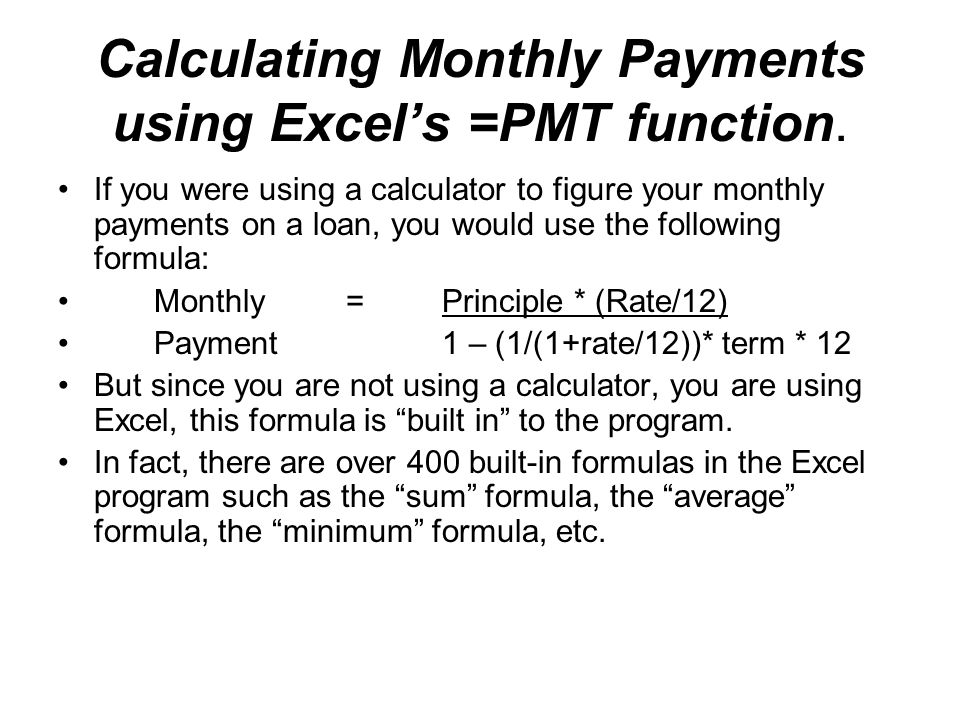 how to find monthly payment for loan excel