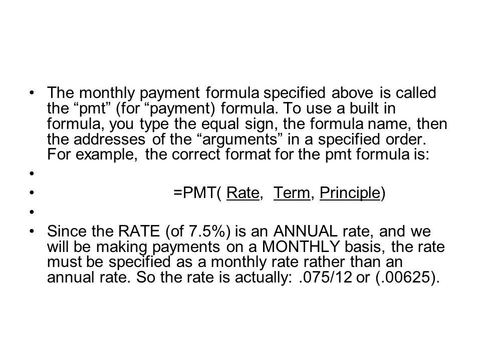 monthly payment formula