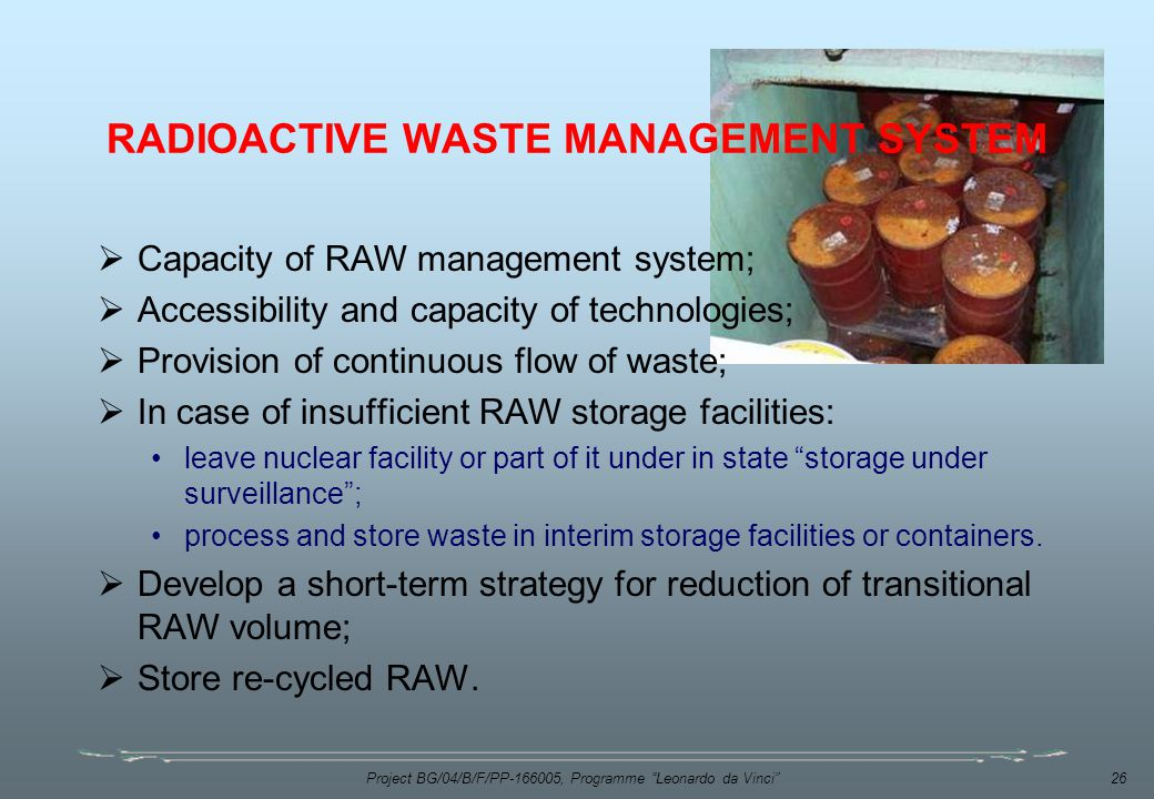 RADIOACTIVE WASTE MANAGEMENT SYSTEM