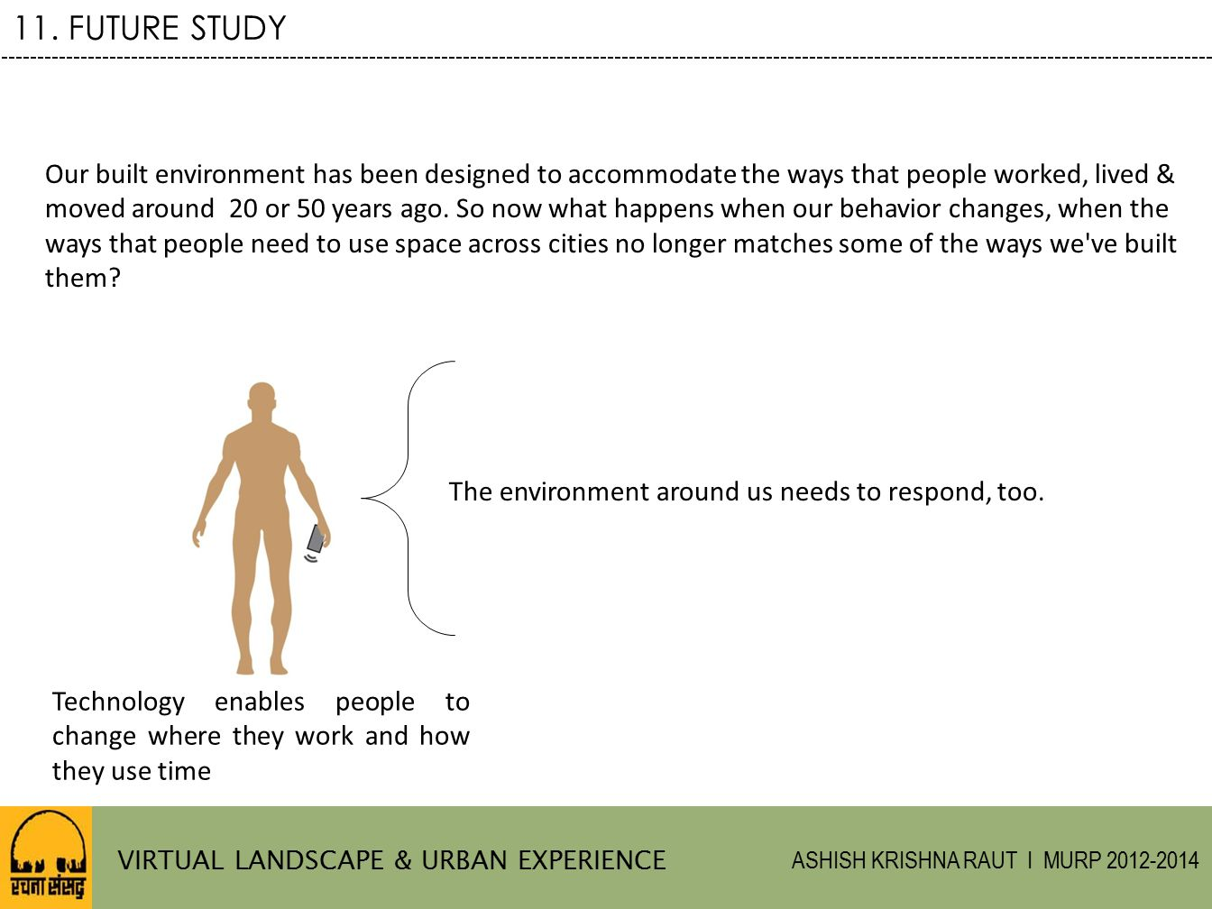 11. FUTURE STUDY Our built environment has been designed to accommodate the ways that people worked, lived &