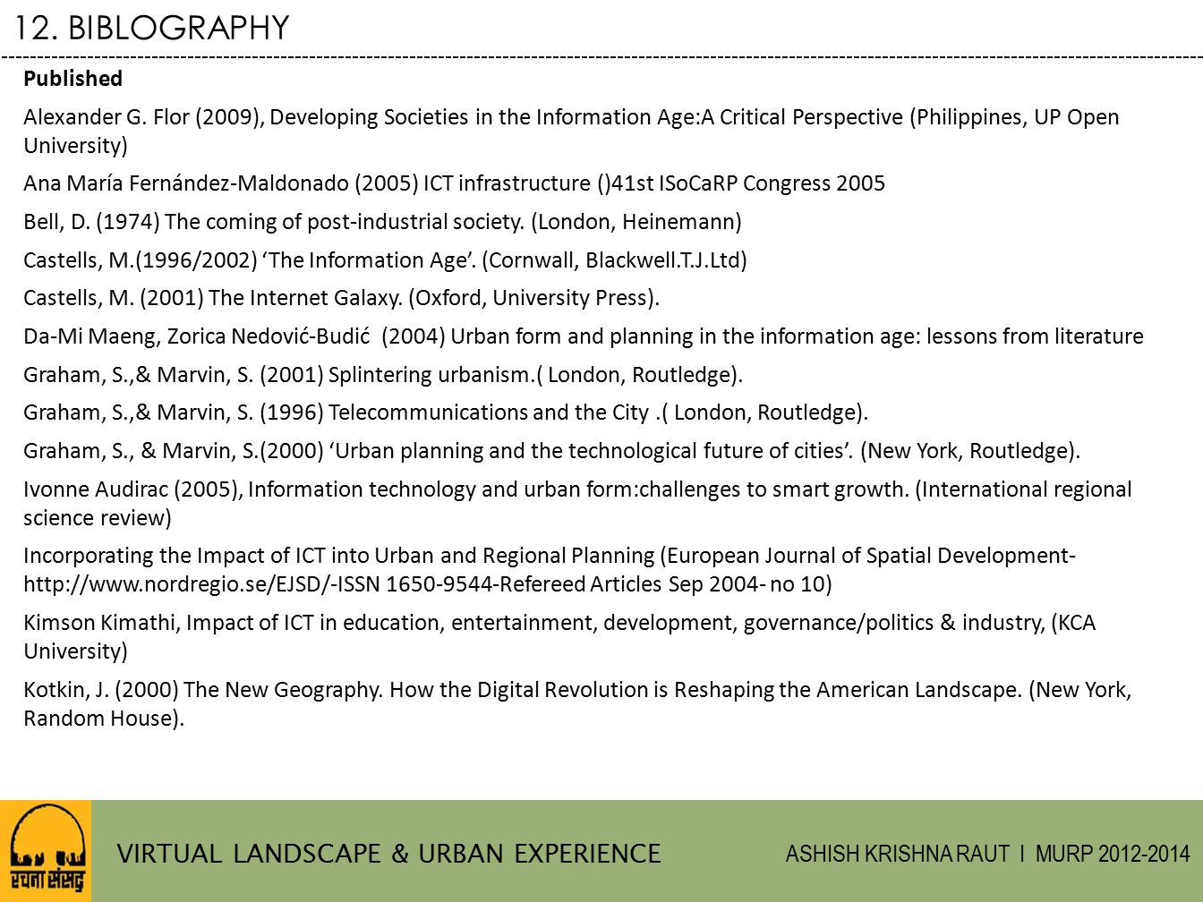 12. BIBLOGRAPHY VIRTUAL LANDSCAPE & URBAN EXPERIENCE Published