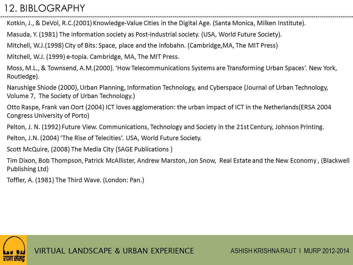 12. BIBLOGRAPHY VIRTUAL LANDSCAPE & URBAN EXPERIENCE