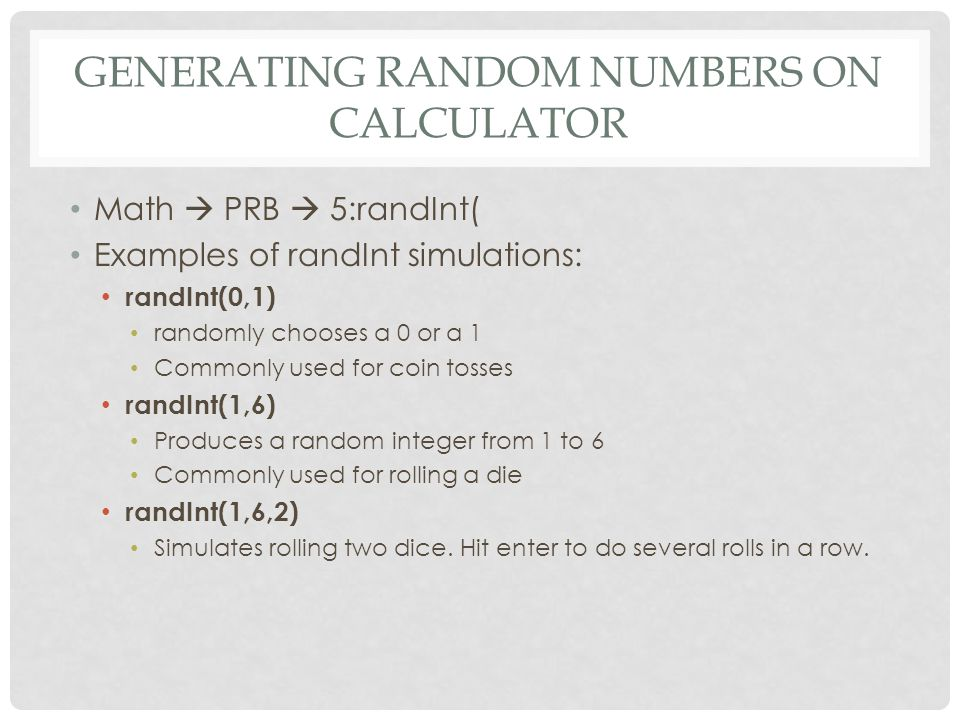 Generating Random Numbers on Calculator