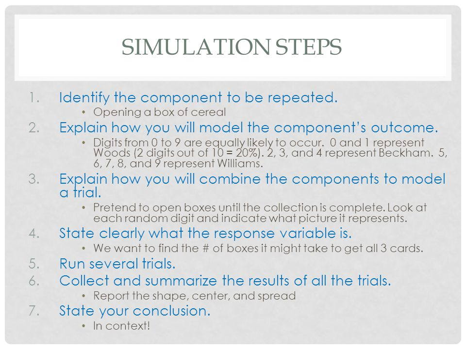 Simulation Steps Identify the component to be repeated.
