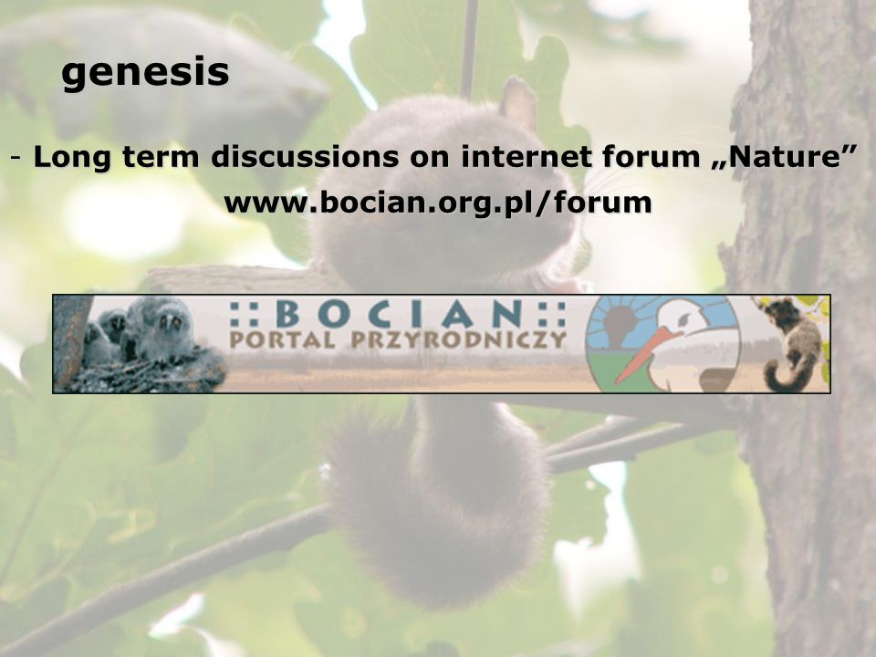 "genesis Long term discussions on internet forum ""Nature"