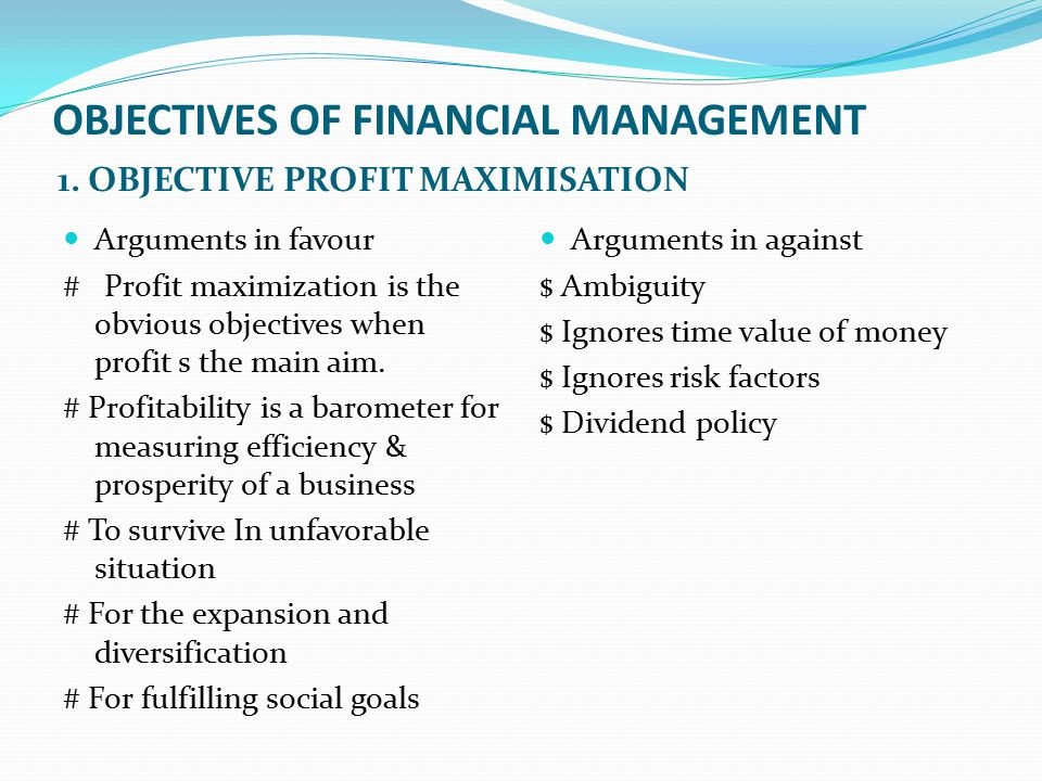 objectives of financial administration Let's look at an important aspect of using planning and the continually improving process approach to enhance financial performance — setting and reviewing financial performance objectives, then taking appropriate action.