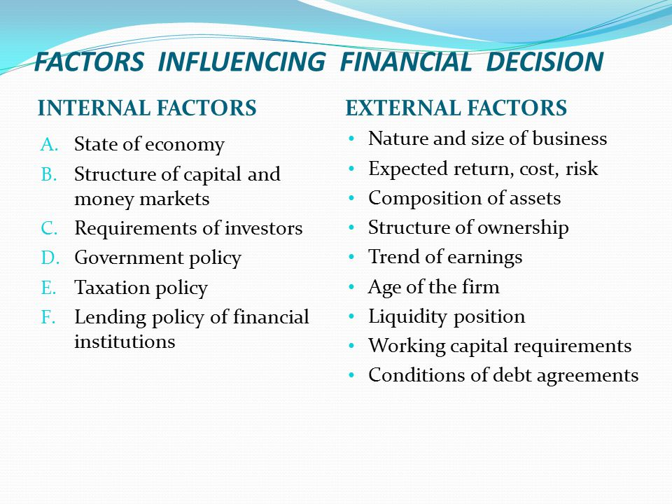 FACTORS INFLUENCING FINANCIAL DECISION