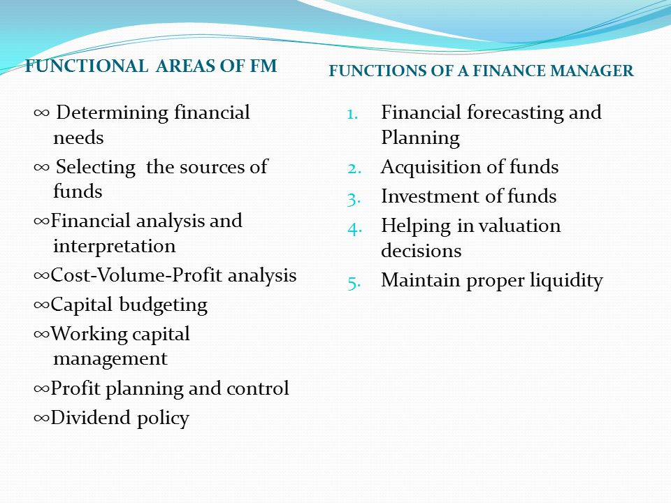 Financial forecasting and Planning Acquisition of funds
