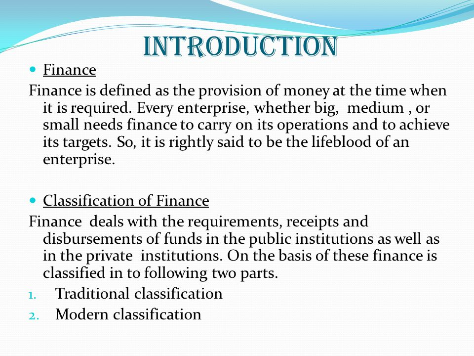 INTRODUCTION Finance.