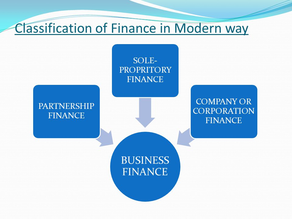 Classification of Finance in Modern way