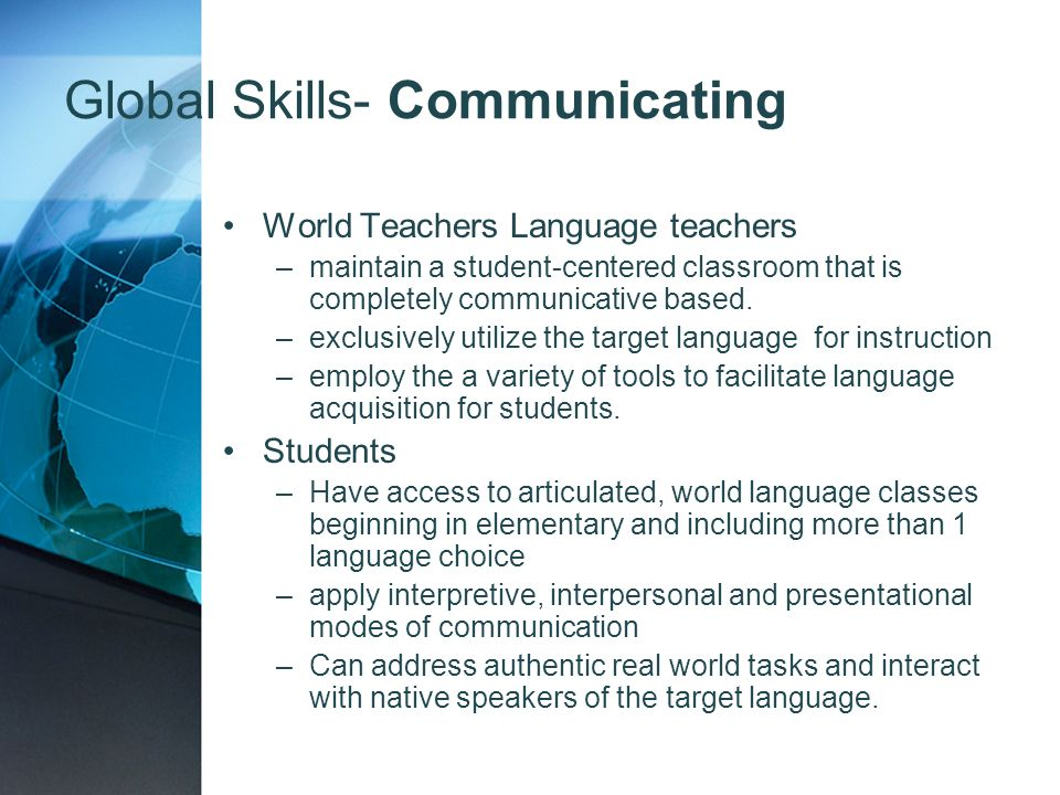 Global Skills- Communicating