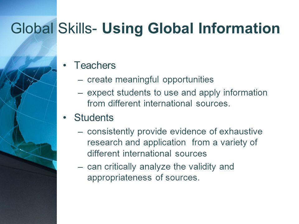 Global Skills- Using Global Information