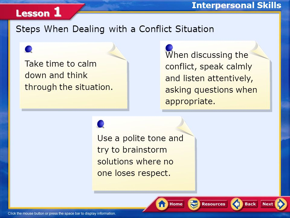 Steps When Dealing with a Conflict Situation