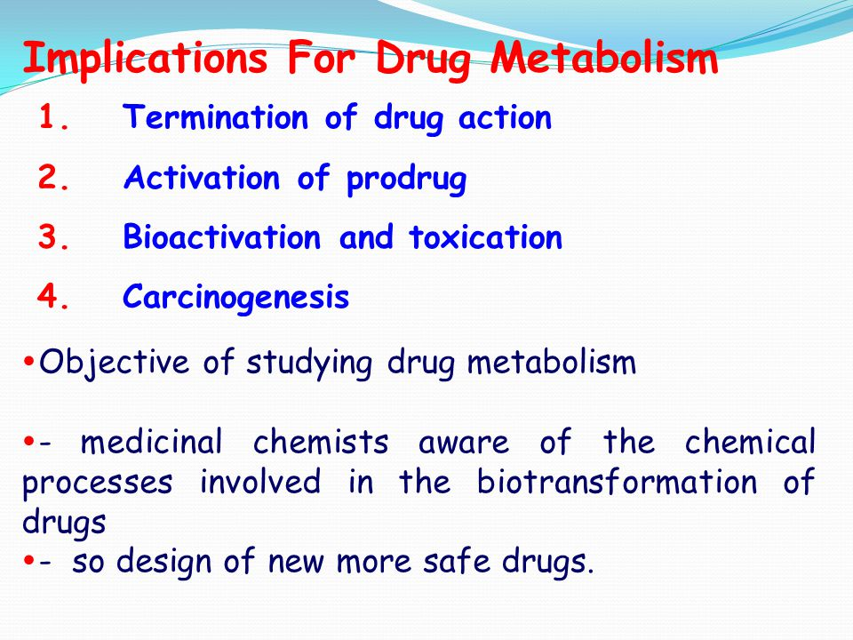 processes of drugs metabolism in the body 2011-10-27  chapter 1: abcs of pharmacology - medicines by design - science education - national institute of general medical sciences.