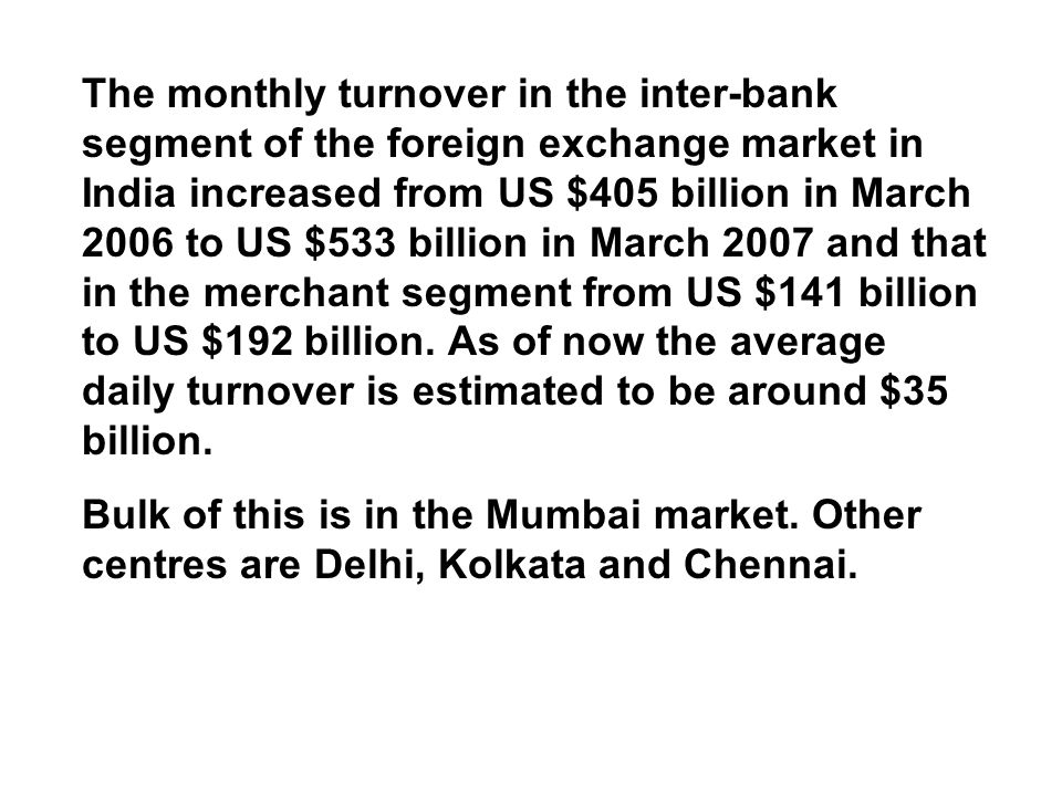 Forex market turnover in india