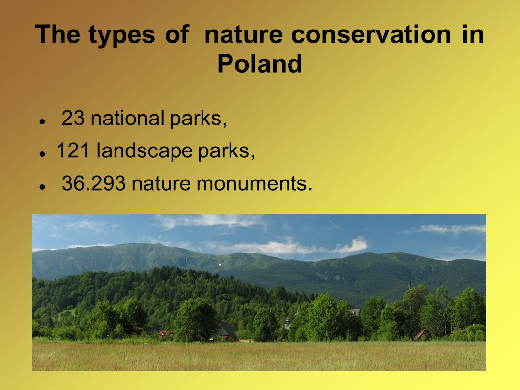 The types of nature conservation in Poland