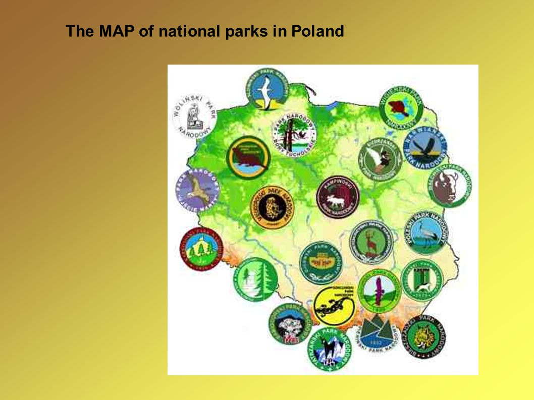 The MAP of national parks in Poland