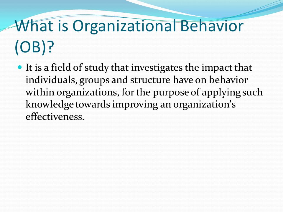 a description of organizational behavior focuses on how individuals and groups behave within an orga Organizational behavior groups of individuals: leaders must understand human behaviour as to why people behave in particular manner and try to identify.