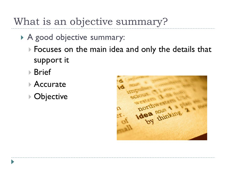 Lovely What Is An Objective Summary And What Is An Objective Summary