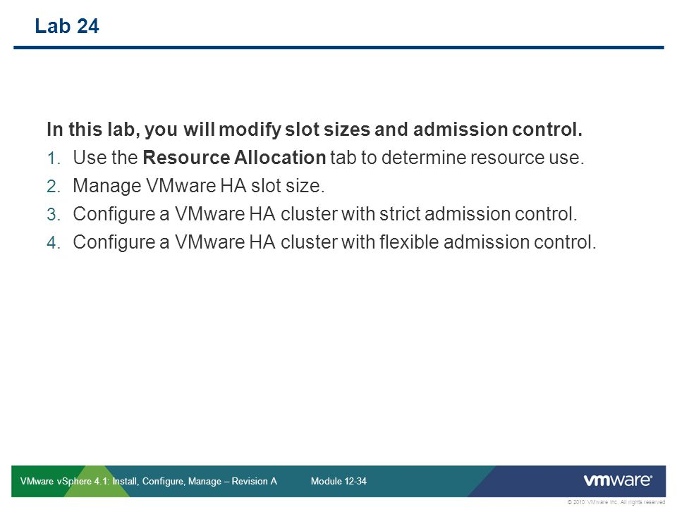Vmware slots in cluster