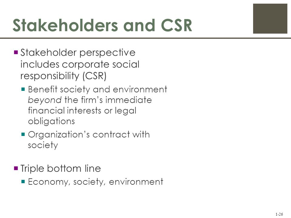 corporate responsibility stakeholder perspective Corporate social responsibility (csr) is how companies manage their business processes to produce an overall positive impact on society it covers sustainability, social impact and ethics, and done correctly should be about core business - how companies make their money - not just add-on extras such.