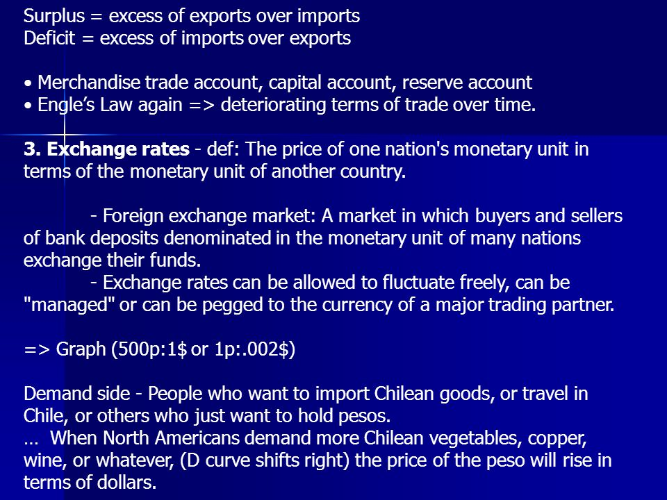 Surplus = excess of exports over imports