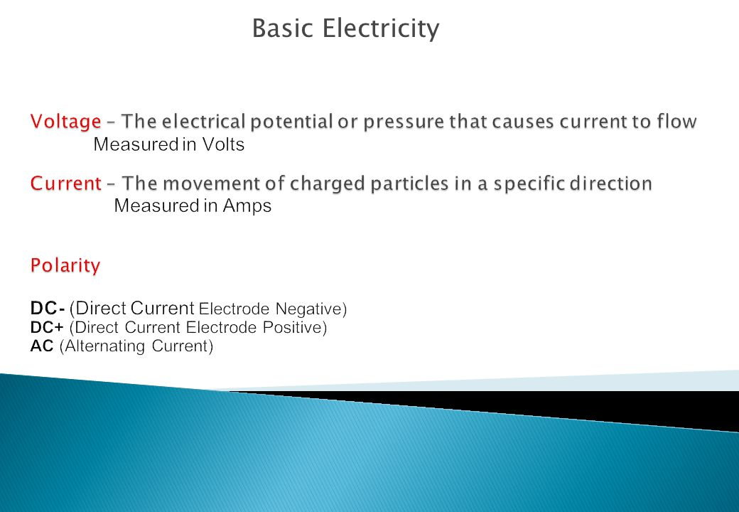 Basic Electricity Voltage – The electrical potential or pressure that causes current to flow. Measured in Volts.