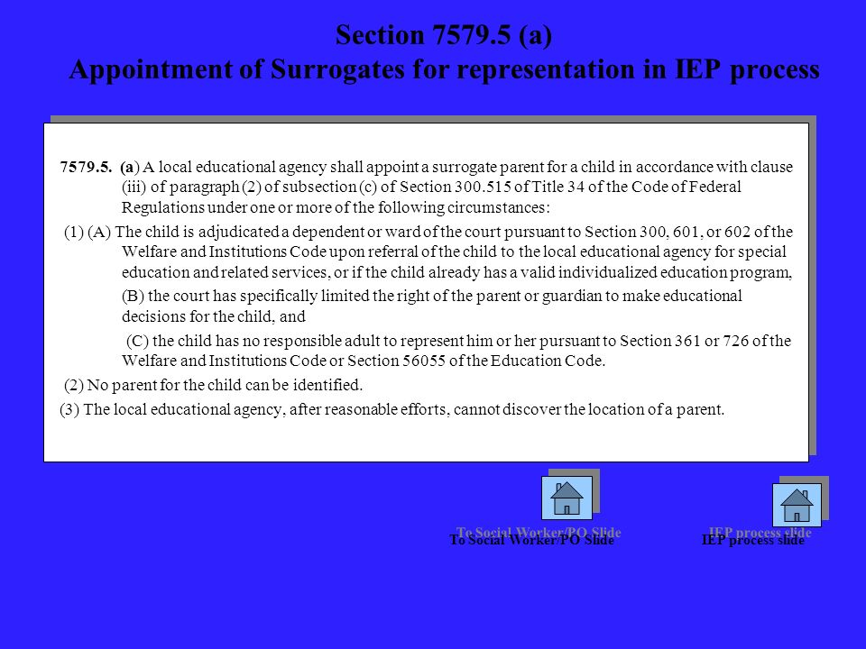 Section 7579.5 (a) Appointment of Surrogates for representation in IEP process