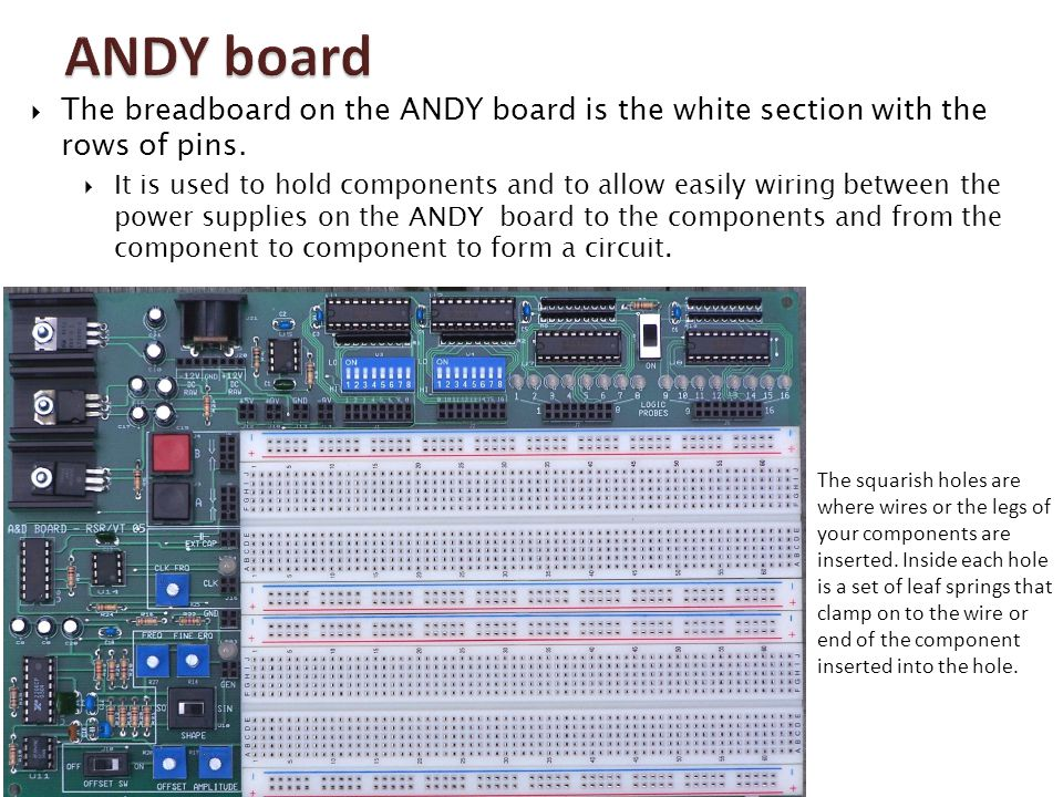 ANDY board The breadboard on the ANDY board is the white section with the rows of pins.