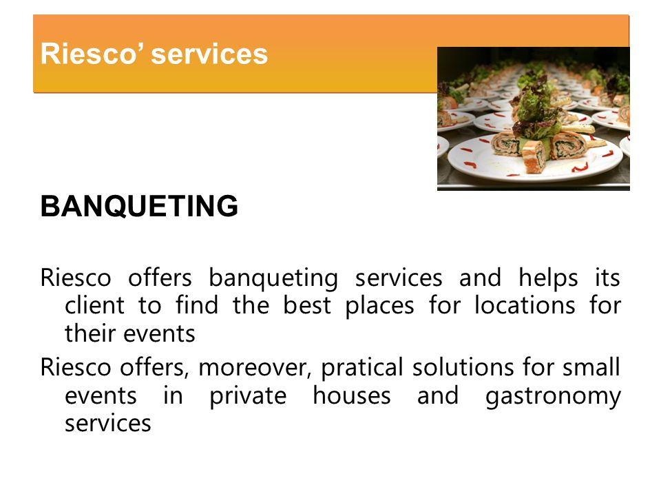 Riesco' services BANQUETING