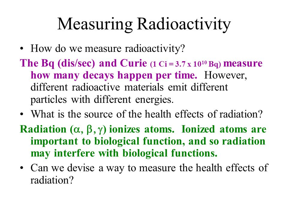 an introduction to the different ways to measure radiation Measurement of non-ionizing radiation population, for the different frequencies introduction to the measurement of non.