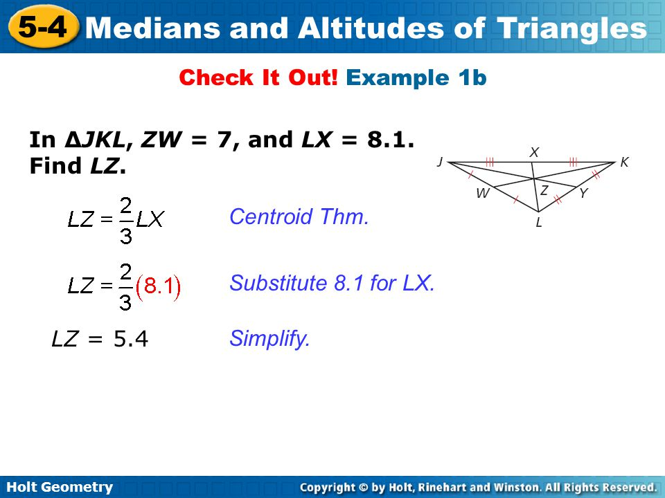 medians and altitudes 5 4 of triangles warm up lesson presentation ppt video online download. Black Bedroom Furniture Sets. Home Design Ideas