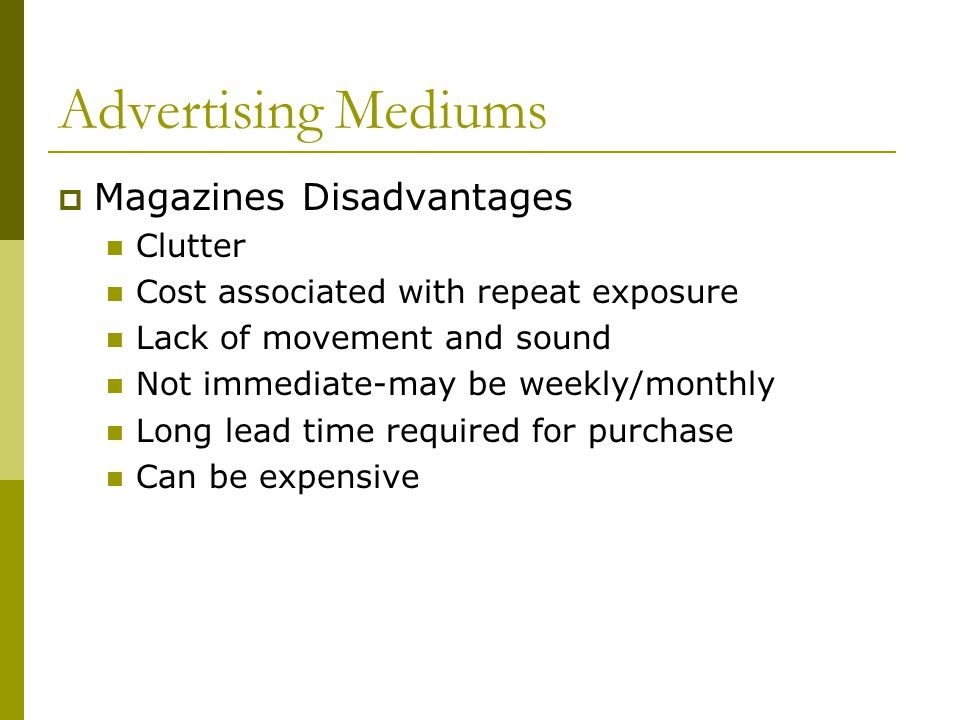 Advertising Mediums Magazines Disadvantages Clutter