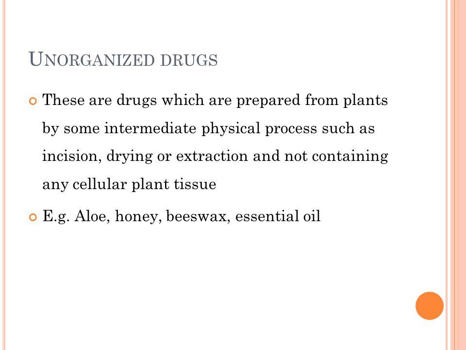 Unorganized drugs