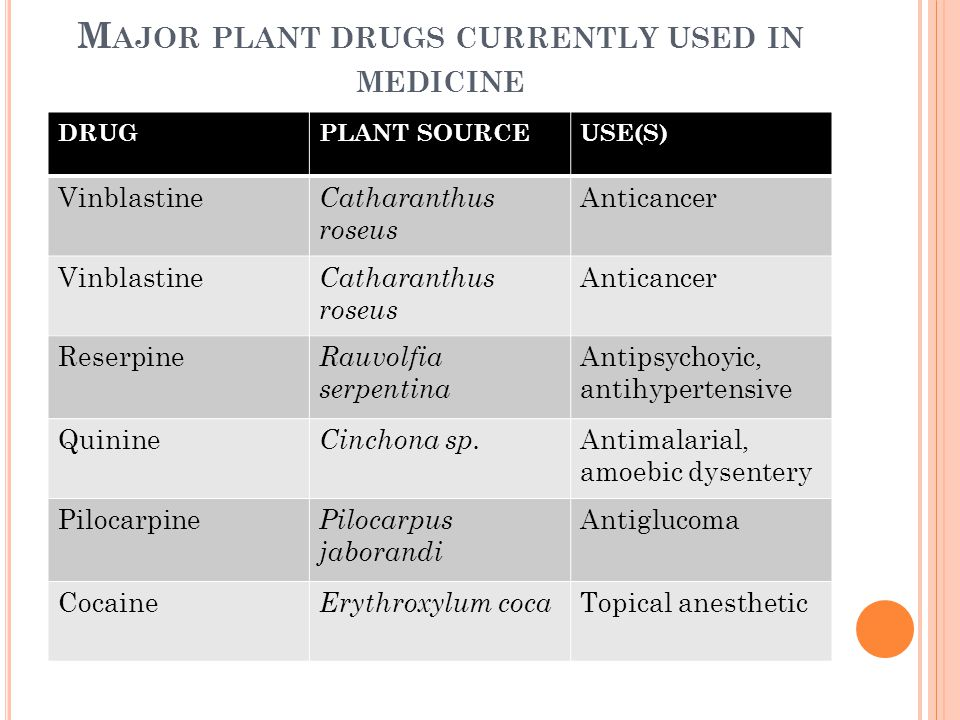 Major plant drugs currently used in medicine