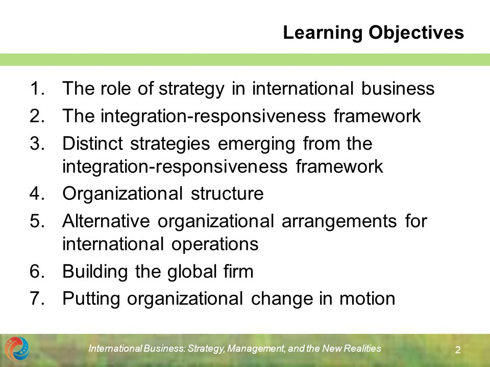integration responsiveness grid on firm strategies •integration: the process of combining dif- ferentiated parts into a standardized whole • responsiveness: the process of disaggregating a standardized whole into differentiated parts • the ir grid reveals how a firm's choice of strategy is a function of the relationship.