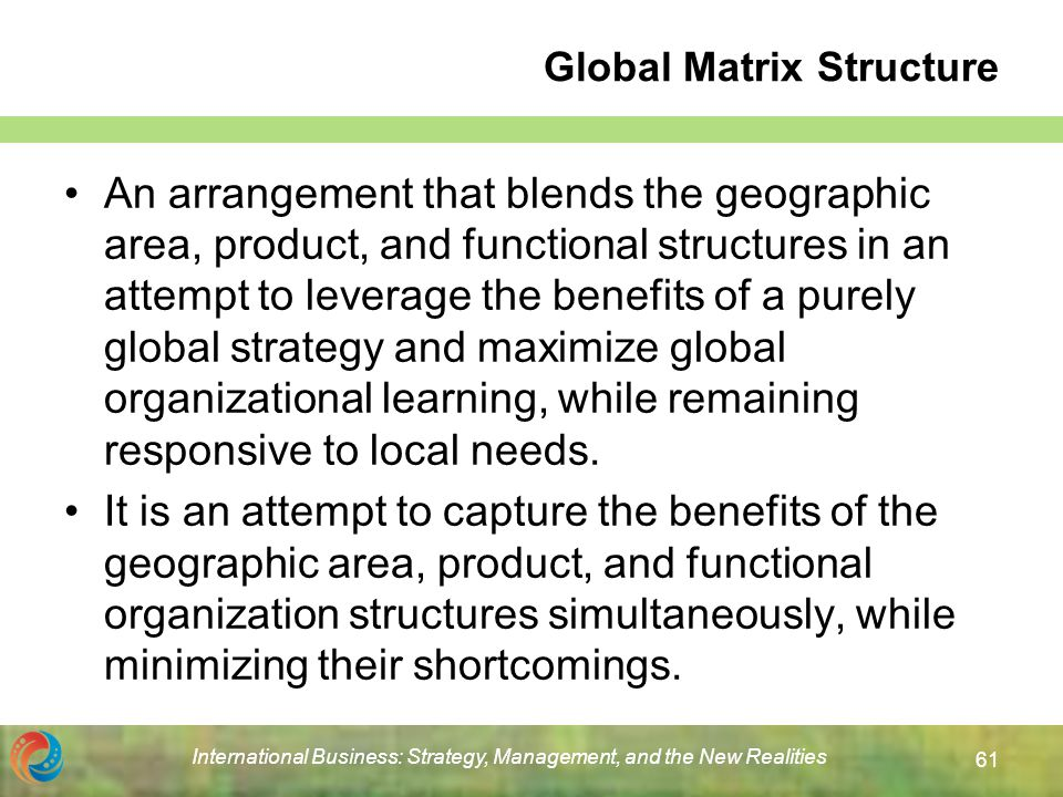 global strategy and structure Chapter 11 organizational structure and control chapter 11 organizational structure worldwide product divisional structure to implement global strategy.