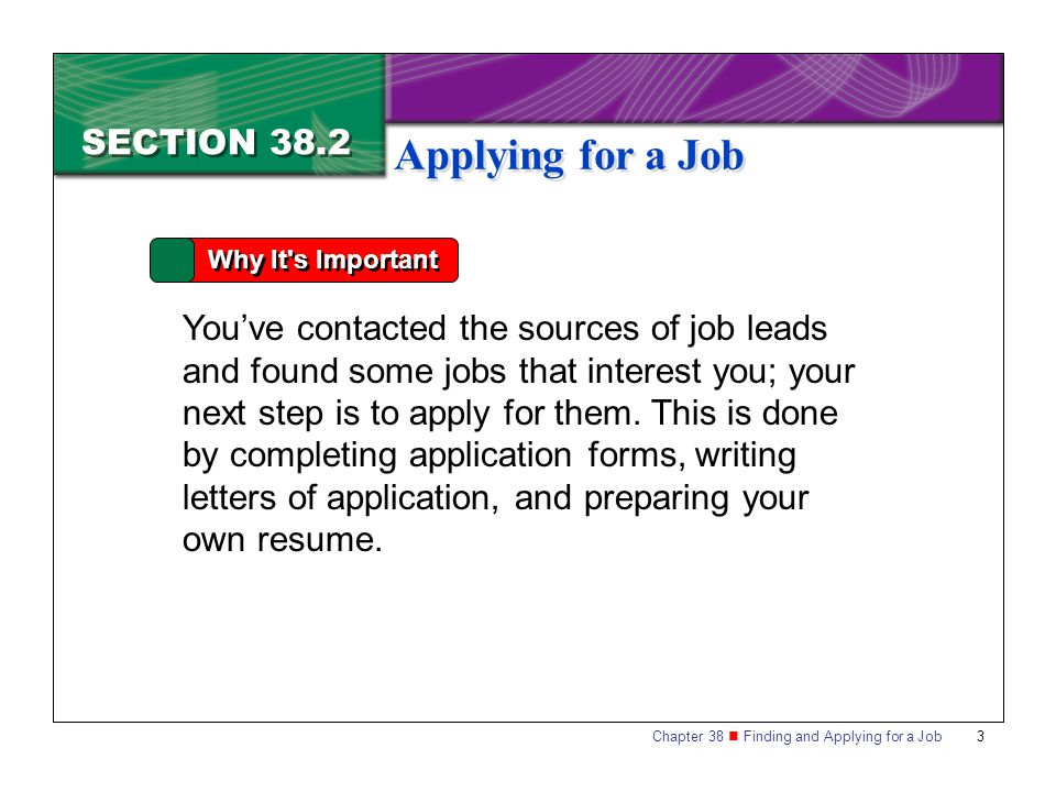 Applying for a Job SECTION 38.2
