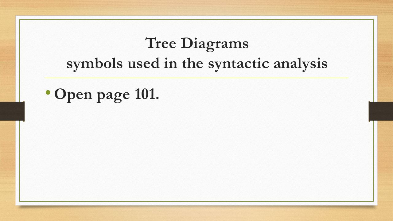 Tree Diagrams symbols used in the syntactic analysis