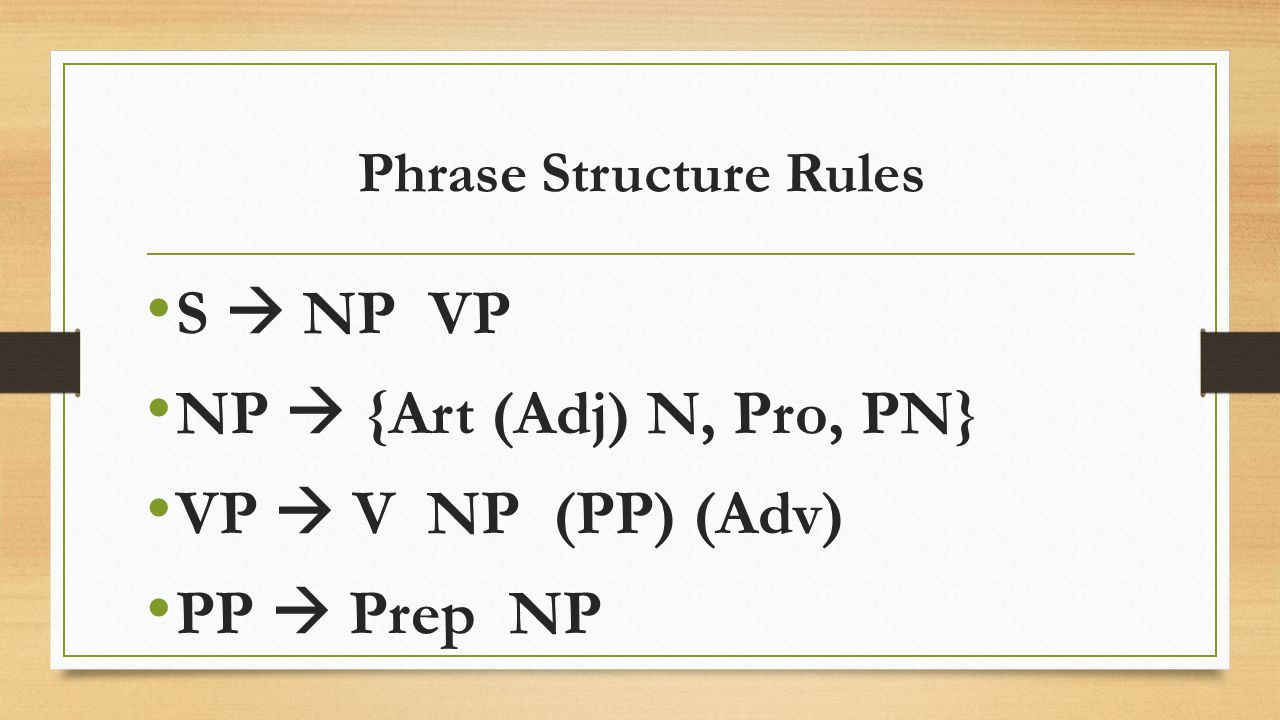 Phrase Structure Rules