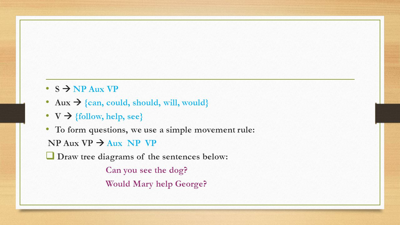 S  NP Aux VP Aux  {can, could, should, will, would} V  {follow, help, see} To form questions, we use a simple movement rule: