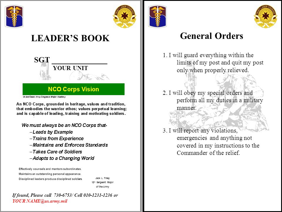 continuity book army template - disciplined leaders produce disciplined soldiers ppt