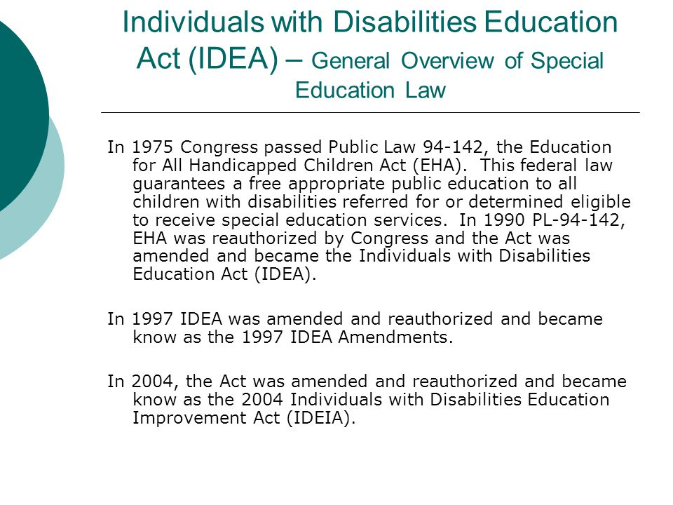 disabilities education act of 2004 essay Comparison of the individuals with disabilities education act (idea), section 504 of the rehabilitation act (section 504), & the americans with disabilities act (ada.