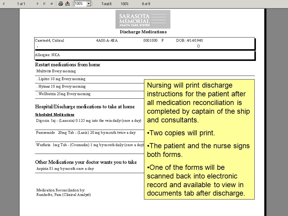 Electronic Medication Reconciliation Nursing Discharge Process  Ppt