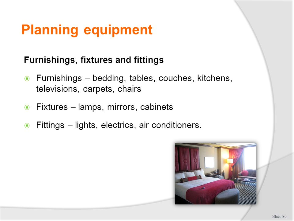 Planning equipment Furnishings, fixtures and fittings