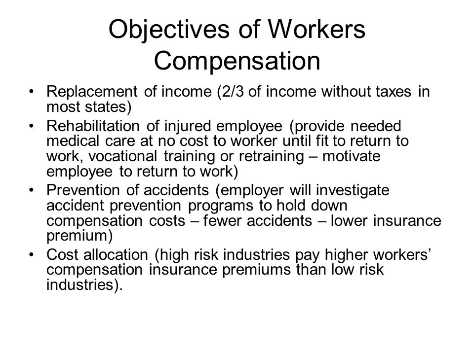 an overview of workers compensation Workers compensation workers' compensation: an overview workers' compensation laws protect people who are injured on the job they are designed to ensure that employees who are injured or disabled on the job are provided with fixed monetary awards, eliminating the need for litigation.