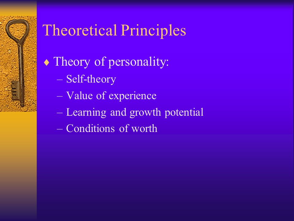 the theoretical principles of person centre Definition person-centered therapy, which is also known as client-centered, non-directive, or rogerian therapy, is an approach to counseling and psychotherapy that places much of the.