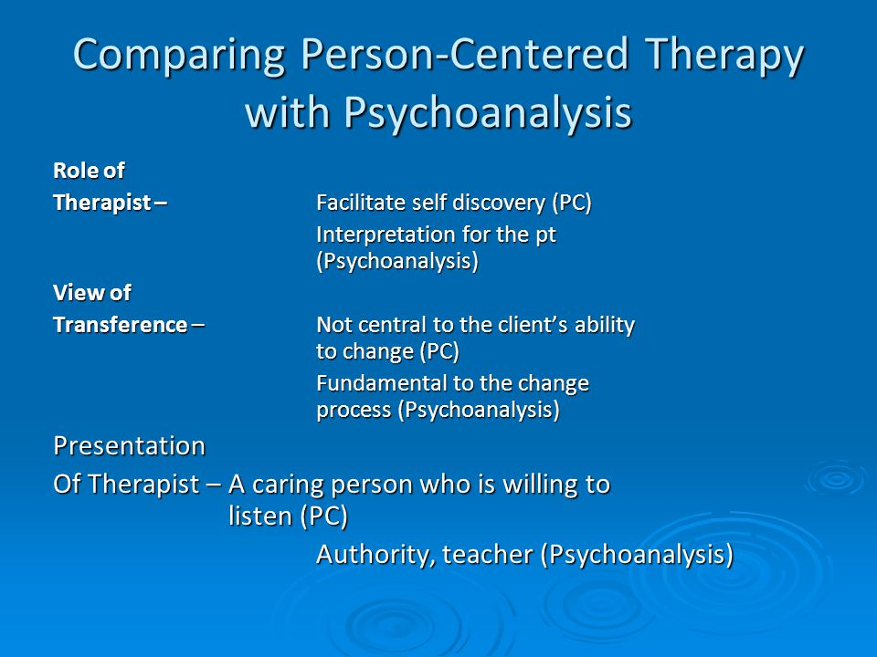 a comparison between person centered therapy and feminist therapy Gender dynamics in person-centered therapy: does gender matter gillian proctor bradford and airedale teaching primary care trust, england abstract.